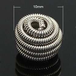 Perles de printemps en laiton, Perles de bobine, plat rond, couleur platine, 10x7mm, Trou: 2mm(X-KK-C3040-N)