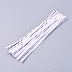 Kraft Paper Wire Twist Ties, with Iron Core, Bread Candy Bag Ties, White, 154x4x0.5mm; about 1000pcs/Bundle(AJEW-WH0114-03-15cm)