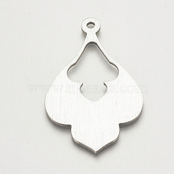 Grands pendentifs d'aluminium, gainsboro, 60.5x37x2mm, Trou: 3mm(X-ALUM-S015-090)