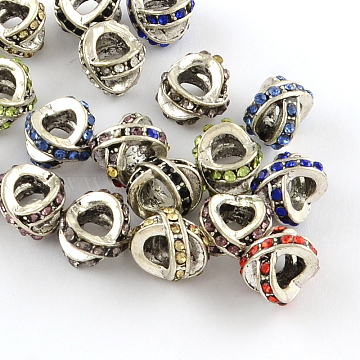 Letter X Antique Silver Plated Metal Alloy Rhinestone European Beads, Large Hole Beads, Mixed Color, 11x8~9x10mm, Hole: 5mm(ALRI-Q228-16)