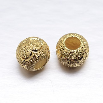 Real 18K Gold Plated Rondelle Sterling Silver Textured Beads, Golden, 8x7mm, Hole: 3mm; about 32pcs/20g(STER-M101-02-8mm)