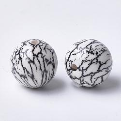 Printed Acrylic Beads, Round, Black, 14x13.5mm, Hole: 2.5mm(MACR-T024-49B)