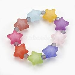 """Bracelets extensibles pour enfants avec perles en acryliques mate, avec des perles synthétiques en pierre de lune, étoiles, gris clair, 2-1/8"""" (5.4 cm)(BJEW-JB03895-02)"""