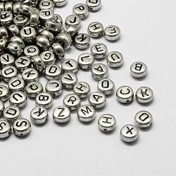 Perles alphabet acryliques plaquées, plat rond, mixte, 7x4mm, Trou: 1.3mm(X-PACR-Q099-M03)