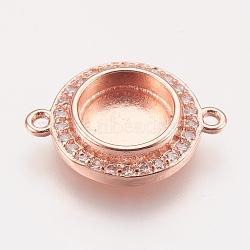 латунные микро проложить кубических ссылки циркония, кабошон параметры соединителя, чашки безель с краем, розовое золото, лоток: 8 мм; 17x13x3 мм, отверстия: 1.2 mm(X-KK-P146-01RG)