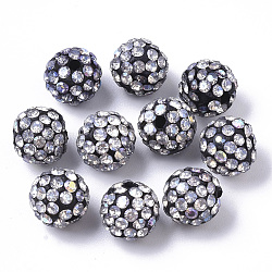 Pave Disco Ball Beads, Polymer Clay Pave Rhinestone Beads, Round, Crystal AB, Black, PP13(1.9~2mm); 10x9mm, Hole: 1.6mm(X-RB-T017-04-08)