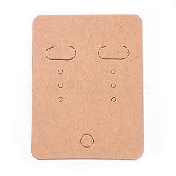 Carte d'affichage boucle d'oreille de papier, rectangle, verge d'or, 67x50mm(X-EDIS-ZX001)