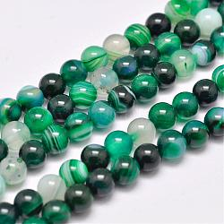 Natural Striped Agate/Banded Agate Bead Strands, Dyed & Heated, Round, Grade A, Sea Green, 6mm, Hole: 1mm; about 63pcs/strand, 14.7inches(375mm)