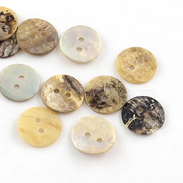 2-Hole Flat Round Sea Shell Buttons, Camel, 10~11x1~2mm, Hole: 1mm(SSHEL-Q295-02)