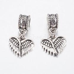 Perles européennes en alliage de style tibétain, Pendentifs grand trou, Aile et coeur, argent antique, 23mm, pendentif: 12x13x2 mm, Trou: 4.5mm(PALLOY-F199-33AS)