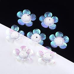 cabochons en mousse, avec paillettes et polyester, fleur, effacer, 42~44x43~45x10~12 mm; sur 100 PCs / sac(KY-T007-02D)