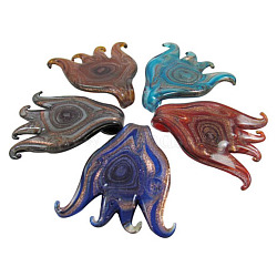 Handmade Silver Foil Glass Big Pendants, with Gold Sand, Octopus, Mixed Color, Size: about 66mm long, 58mm wide, hole: 8mm(X-FOIL-X012-M)