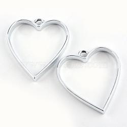 Enrubanneuse en alliage coeur ouvert en arrière lunette pendentifs, pour diy uv résine, une résine époxy, Bijoux à fleurs pressées, creux, sans plomb et sans nickel, argent, 34x30.2x3.7 mm, trou: 3 mm(X-PALLOY-S047-12D-FF)