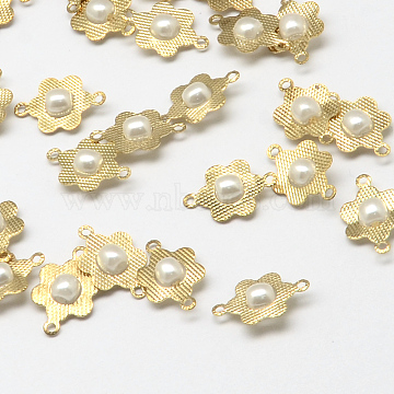 Golden Tone Brass Flower Links connectors, with ABS Plastic Imitation Pearl Beads, White, 14x9x4mm, Hole: 1~2mm(X-KK-Q576-01)
