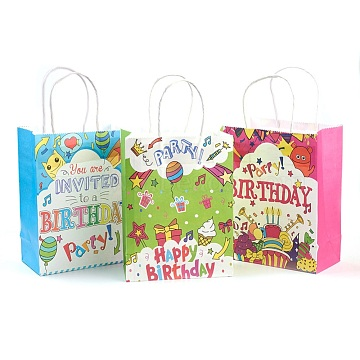 Paper Bags, with Handles, Gift Bags, Shopping Bags, Birthday Party Bags, Rectangle, Mixed Color, 21x15x8cm(AJEW-G019-02S-M)