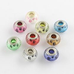 Perles européennes en acrylique avec motif de pattes de chien à gros trou, laiton avec ton argent noyaux doubles, facettes rondelle, couleur mixte, 14x9~10mm, Trou: 5mm(X-OPDL-Q129-M01)
