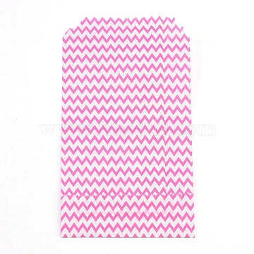 White Kraft Paper Bags, No Handles, Storage Bags, Wave Pattern, Wedding Party Birthday Gift Bag, Deep Pink, 15x8.3x0.02cm(CARB-I001-03A)