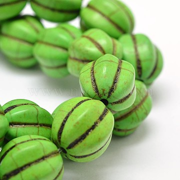 14mm Lime Round Synthetic Turquoise Beads