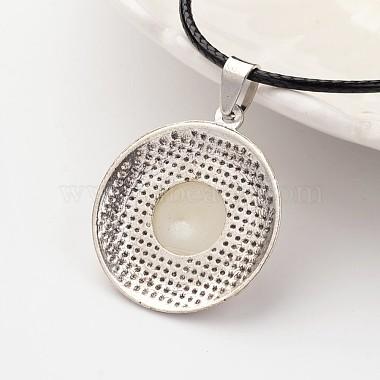 Flat Round Tibetan Style Alloy Acrylic Pearl Pendant Necklaces(NJEW-F197-20)-3