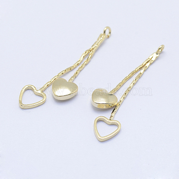 Brass Pendants, Long-Lasting Plated, Real 18K Gold Plated, Nickel Free, Heart, 30mm, Hole: 1mm(X-KK-F727-56G-NF)
