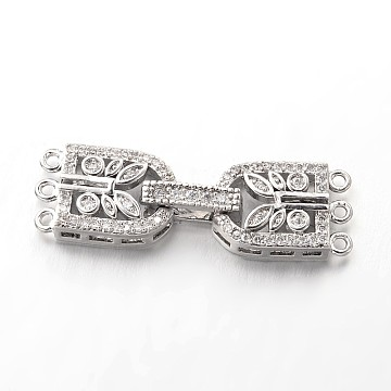 Brass Micro Pave Cubic Zirconia Fold Over Clasps, Lead Free & Nickel Free, Platinum, 34x10x4mm, Hole: 1mm(ZIRC-I014-68P-FF)