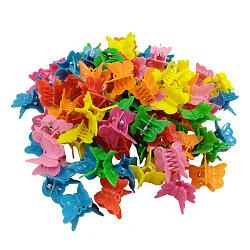 Enfants accessoires pour cheveux, plastique de pinces à cheveux griffes, papillon, couleur mixte, 18x18 mm; environ 100 PCs / sac(OHAR-S197-007J)