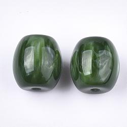 Resin Beads, Imitation Gemstone, Oval, DarkGreen, 17~17.5x16mm, Hole: 3mm(X-RESI-S377-13C)