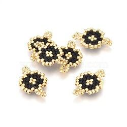MIYUKI® & TOHO® connecteurs japonaises en perles rocailles manuells, motif de tissage, plat rond, noir, 19~19.5x12~12.5x1.7mm, Trou: 2mm(SEED-A027-M01)