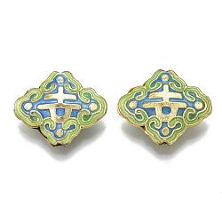 Handmade Cloisonne Beads, Enamel, Rhombus, Mixed Color, 17.5x20.5x6mm, Hole: 1mm(X-CLB-Q001-01B)