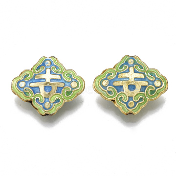 Mixed Color Rhombus Brass Beads