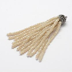 Gros pendentifs de gland de perles en verre, avec les accessoires de strass en laiton, oldlace, 76x10.8mm, Trou: 2.5mm(EGLA-P024-01)
