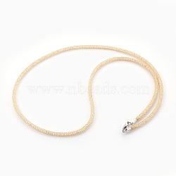 """Colliers à mailles en laiton, avec des perles de verre à l'intérieur, clair, or, 20.5~21"""" (52~53.5 cm)(NJEW-F241-01G-C)"""