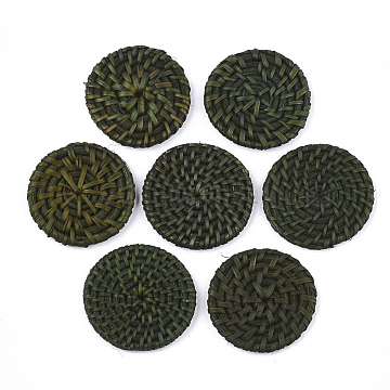 Handmade Reed Cane/Rattan Woven Beads, For Making Straw Earrings and Necklaces, No Hole/Undrilled, Dyed, Flat Round, DarkOliveGreen, 38~50x4~6mm(X-WOVE-T006-128D)