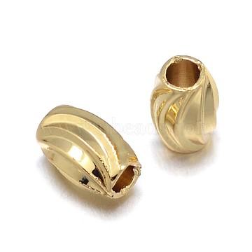 Environmental Brass Beads, Lead Free & Nickel Free & Cadmium Free, Twist Pattern Oval, Golden, 6x4mm, Hole: 2mm(KK-E711-007G-NR)