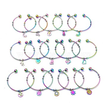 304 Stainless Steel Cuff Bangles, Torque Bangles, Mixed Shapes Charm Bangles, Multi-color, 2-3/8 inches(5.9cm)(BJEW-M284-19M)