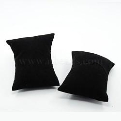 Black Rectangle Velvet Pillow Jewelry Bracelet Watch Display, with Sponge, 88x76x43mm(X-BDIS-I001-01)