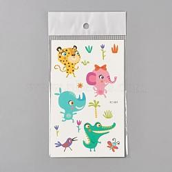 Faux tatouages temporaires amovibles, imperméable, autocollants papier de dessin animé, animaux, colorées, 120~121.5x75mm(AJEW-WH0061-B30)