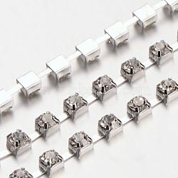 4 mm de large catégorie de ton argent un vêtement décoratif de chaînes en cristal en laiton de parage strass grade A tasse de strass grade A(X-CHC-S16-S)