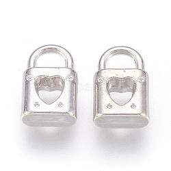 Пластмассовые подвески ccb, замок с сердцем, платина, 15.5x9.5x4.5 мм, отверстие : 4.5x5 мм(CCB-P007-013)