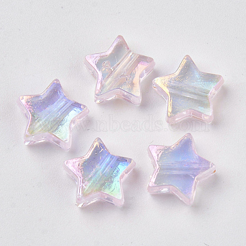 Transparent Plastic Beads, AB Color Plated, Star, Pink, 11x11x4mm, Hole: 1.6mm(X-KY-N006-001G)
