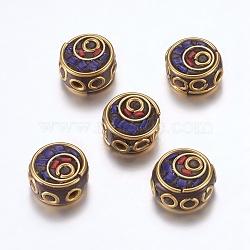 Perles Indonésiennes manuelles, avec les accessoires en laiton, sans nickel, plat rond, non plaqué, bleu, 12~13x6~7.5mm, Trou: 2mm(IPDL-F023-25C)