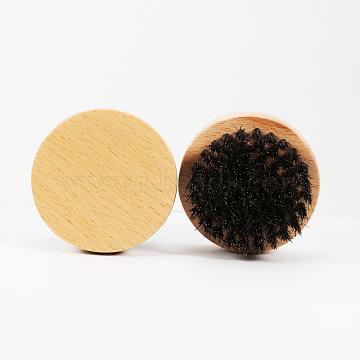 Natural Beech Beard Brush, with Black Boar Bristles, Men Beards Mustaches Care, Round, PapayaWhip, 63x35mm(X-MRMJ-S006-61-1)