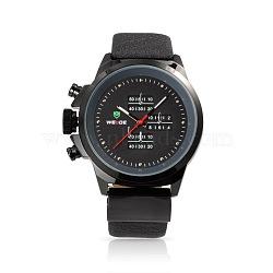 Мужские кожаные часы, высококачественной нержавеющей стали кварцевые часы, чёрные, 265x21.5 мм; голова часов : 56.5x54.5x14 мм; лицо часов : 41x41 мм(WACH-N001-42)