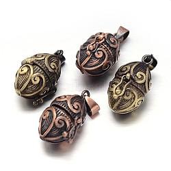 Rack toupie sculpté boîte laitonnage de prière pendentifs, boîte souhaiter, sans nickel  , couleur mixte, 24x16x14mm, Trou: 5x3mm(KK-L101-23-NF)