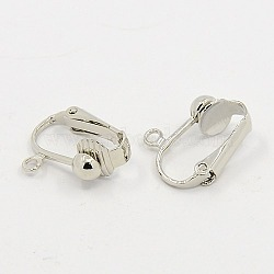 Brass Clip-on Earring Findings, for Non-pierced Ears, Platinum, 15.5x13.5x7mm, Hole: 1.2mm(X-J0JYW062)