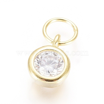 925 Sterling Silver Charms, with Cubic Zirconia and Jump Rings, Flat Round, Clear, Golden, 7x5x2mm, Hole: 3mm(STER-G031-02G)