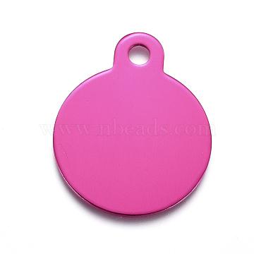 Pendentifs en aluminium, estampillage d'une étiquette vierge, plat rond, rose foncé, 31x25x1mm, Trou: 3mm(ALUM-I002-01I)