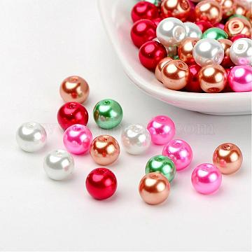 Christmas Mix Pearlized Glass Pearl Beads, Mixed Color, 8mm, Hole: 1mm, about 100pcs/bag(HY-X006-8mm-05)