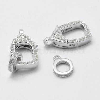 925 Sterling Silver Cubic Zirconia Lobster Claw Clasps(STER-K169-01P)-3