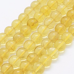 """Природный цитрин бисер нитей, круглые, 8 мм, Отверстие : 0.8 мм; около 51 шт / нитка, 15.3""""(G-K261-09-8mm)"""